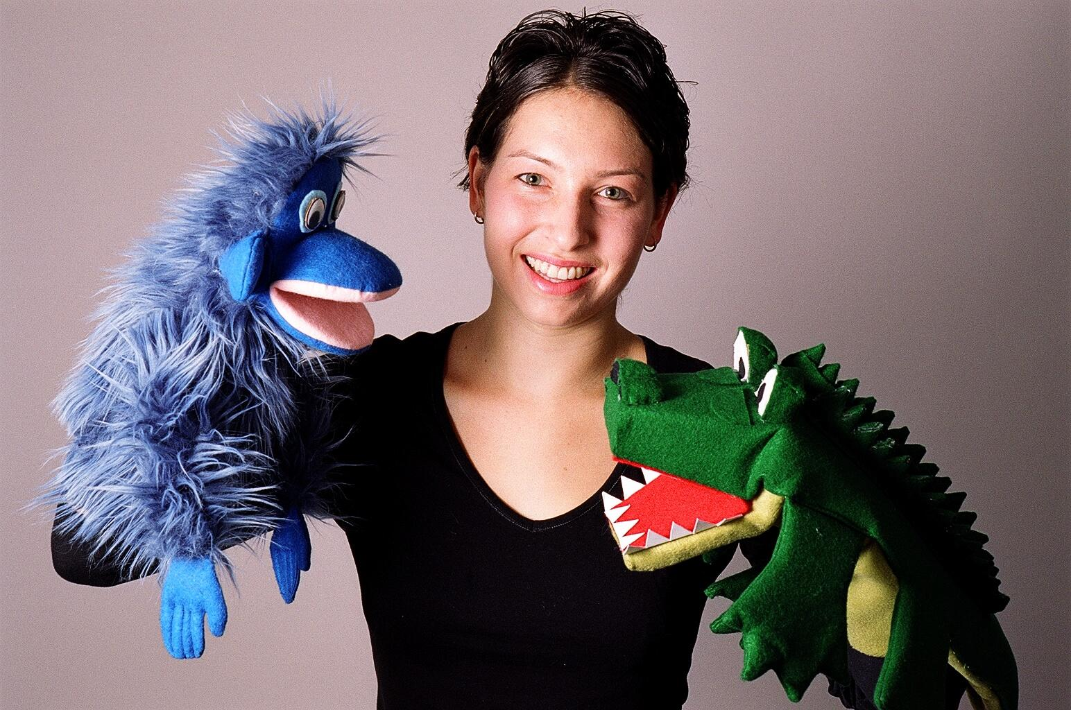 Anna Sobel with puppets